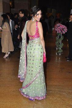 Sophie Choudhary at Wedding Sangeet Ceremony of Honey Bhagnani & Dheeraj Deshmukh, Feb, 2012 Indian Look, Dress Indian Style, Indian Dresses, Indian Outfits, Indian Clothes, Black Blouse Designs, Saree Blouse Designs, Fancy Sarees, Party Wear Sarees
