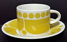 Vintage Arabia Finland Pottery Sunnuntai Cup and Saucer