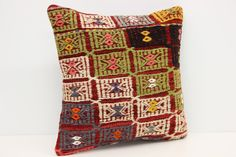 Pattern Kilim Pillow Cover 16 x 16 Seat Pillow by kilimwarehouse