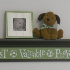 """Soccer Ball Sport Wall Decor Baby Nursery - Sign - Most Valuable Player on 30"""" Shelf Brown and Green Nursery"""