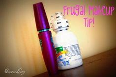 Saline solution/eye drops to make mascara last or renew dry mascara.