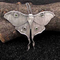 Large Luna Moth Necklace by Nancy Edwards - moth pendant, adorned with green tourmaline gemstones