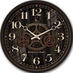 12 in. Round Industrial Gears Wall Clock, Black