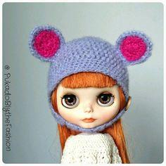Bekijk dit items in mijn Etsy shop https://www.etsy.com/listing/266665013/blythe-hat-fuzzy-bear-lilac-ooak