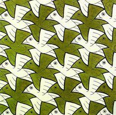 Escher M Optical Illusion Art | ... 106 Bird - A optical illusion m c escher art wallpaper picture