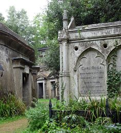 Highgate Cemetary is a cemetery located in north London, England. It is designated Grade I on the English Heritage Register of Parks and Gardens of Special Historic Interest in England. It is divided into two parts, named the East and West cemetery. There are approximately 170,000 people buried in around 53,000 graves at Highgate Cemetery.