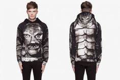 CHRISTOPHER KANE COTTON HOODIE    Relaxed-fit hoodie in tones of gray and black. Universal Studio's Creature From The Black Lagoon-themed print throughout.   Elasticized waistband and ankle cuffs.   Tonal stitching. 100% cotton. Dry clean. Made in Italy.