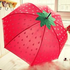 This has kawaii DIY inspiration written all over it! Red Umbrella, Under My Umbrella, Beach Umbrella, Ladies Umbrella, Cute Umbrellas, Umbrellas Parasols, Strawberry Patch, Strawberry Fields, Homemade Home Decor