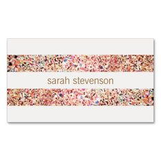 Fun Stripes Colorful Glitter Look Cute Cool Business Card Templates. This is a fully customizable business card and available on several paper types for your needs. You can upload your own image or use the image as is. Just click this template to get started!