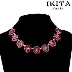 Kette Halskette Collier IKITA Paris  Emaille Himbeere Blumen PinkTracht Dirndl