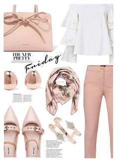 """Friday in pastel..."" by ildiko-olsa ❤ liked on Polyvore featuring WtR, Exclusive for Intermix, Tiffany & Co., Miu Miu, Mansur Gavriel, Monica Vinader and Valentino"