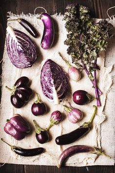 purple food photography with cabbage and fresh vegetables