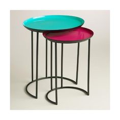 Cost Plus World Market Turquoise and Fuchsia Priya Nesting Tables ($78) ❤ liked on Polyvore