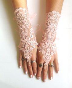 Soft peach pink  Wedding gloves bridal gloves fingerless lace gloves french lace gloves salmon pink light pinkish orange  gloves free ship. $30,00, via Etsy.