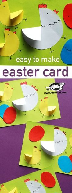 Osterkarte | Hühner | Basteln | Frühling | Ostern