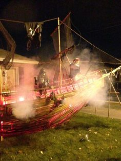 How to Build a Pirate Ship Stage Prop: Our Halloween 2014 – Designs on Pirate Halloween Decorations, Pirate Halloween Party, Halloween Camping, Pirate Decor, Halloween School Treats, Halloween 2014, Cute Halloween Costumes, Pirate Theme, Halloween Projects