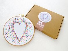 Valentines Day Embroidery Kit, Rainbow Baby Nursery Decor, DIY Gift For Mum, LGBT Anniversary Gift, Gifts Under 20, Adult Craft Kit