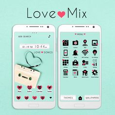 """""""Love Mix"""" Available From:1/21 '16 (EST) An old cassette tape with the tape in a heart shape is enough to take you back to simpler times. Remember love with this theme! http://app.android.atm-plushome.com/app.php/app/themeDetail?material_id=1408&rf=pinterest #cute #wallpaper #love #kawaii #design #icon #girl #plushome  #homescreen #widget #deco"""