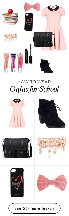 """""""Back to school"""" by ashlyne8 on Polyvore featuring Clarks, Gucci, Missoni, Rifle Paper Co, Henri Bendel, Bobbi Brown Cosmetics and Maybelline"""