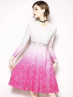 Gradient V-Neck Long Sleeve Lace A-Line Dress