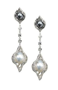 Vanna K white gold diamond encrusted earrings featuring black & white South Sea pearls I Love Jewelry, Pearl Jewelry, Diamond Jewelry, Antique Jewelry, Vintage Jewelry, Fine Jewelry, Jewelry Design, Silver Jewelry, Glass Jewelry