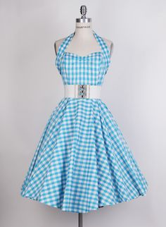 Reviews: 1950s White/Blue Halterneck Gingham Dress-UK Free Shipping - £35.00 : Queen of Holloway, Dressing Shop