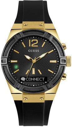 GUESS Women's Analog-Digital Connect Black Silicone Strap Smart Watch 41mm C0002M3 #watches #womens