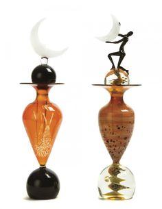 Two Studio Glass Perfume Bottles, Height of taller