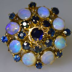3 CT BLUE SAPPHIRE AUSTALIAN OPAL PRINCESS RING 14K YELLOW GOLD ESTATE NATURAL $1634 beautiful color, setting rough in places, prongs missing, opal chipped.