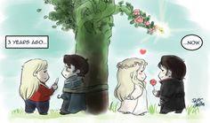 "onceabc: leila–princess: "" Then and Now "" #CaptainSwan #FanArt"