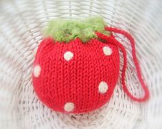 Strawberry Purse Pouch  Fruit Cozy  Knit by NewEnglandQuilter, On Sale for $7.00