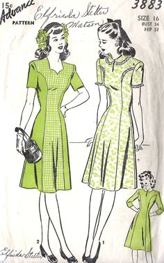 "1940s Misses Princess Seam Dress Vintage Sewing Pattern, Advance 2882 bust 34"". $22.00, via Etsy."