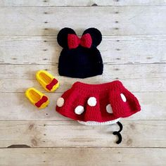 Crochet Baby Minnie Mouse Hat Shorts Diaper Cover Shoes Booties Boots Beanie Set Newborn Photography Photo Prop Handmade Baby Shower Gift