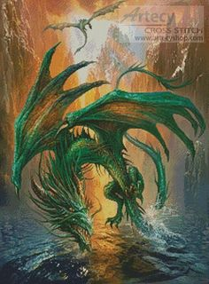 Artecy Cross Stitch. Dragon of the Lake Cross Stitch Pattern to print online.