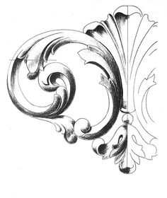 surface fragments: How to Draw the Acanthus, Part III Ornament Drawing, Scroll Pattern, Grisaille, Carving Designs, Wow Art, Leaf Design, Chinoiserie, Wood Carving, Art Tutorials