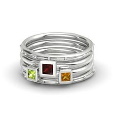 Princess Red Garnet Sterling Silver Ring with Peridot & Citrine - Princess Stacking Ring Set | Gemvara