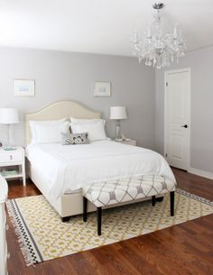 Pottery Barn's Pearl Embroidered collection, grey bedroom, bedroom crystal chandelier, Ikea rug