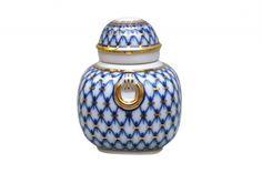 Lomonosov Porcelain Tea Caddy Ring Cobalt Net 11.8 oz/350 ml