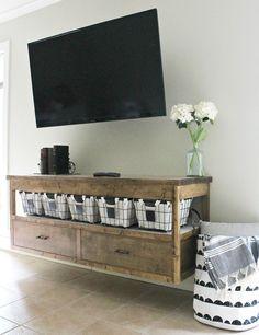 How to Build a DIY Modern Floating Vanity or TV Console Floating Media Console, Floating Tv Shelf, Tv Console Modern, Floating Tv Stand, Floating Vanity, Modern Tv, Living Room Furniture, Home Furniture, Unique Furniture