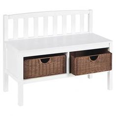 """Frost white storage bench with a slat back and two rattan baskets.    Product: BenchConstruction Material: Wood and rattanColor: WhiteFeatures:  Slender design ensures convenient seat without taking up a lot of roomTwo rattan drawers includedLow-profile contemporary style Dimensions: 28.5"""" H x 36"""" W x 14.25"""" D"""