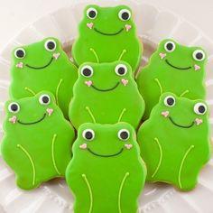 Frog Cookie Favors Garden Bug   12 Frog Sugar Cookie by TSCookies, $30.00