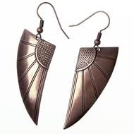 Art Deco Wings- Copper  Art Deco-style earrings in antique copper finish. Beautiful and timeless.