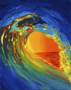 In this contemporary wave painting, the Intensity of an ocean wave with passion and movement balanced with a tranquil horizon. Modern yin and yang created by Thomas Deir Studios in the series of Hawaii Abstract Paintings. Ocean Wave Painting, Wave Art, Ocean Art, Ocean Waves, No Wave, Hawaiian Art, Surf Art, Seascape Paintings, Cool Art
