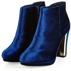 Navy Velvet Metal Trim Block Heel Ankle Boots ($43) ❤ liked on Polyvore featuring shoes, boots, ankle booties, heels, booties, boots/booties, navy blue booties, heeled bootie, block heel bootie and short boots