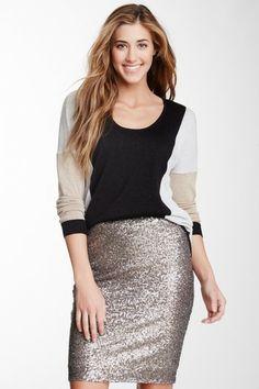 C & C California Metallic Colorblocked Hi-Lo Sweater by Non Specific on @HauteLook