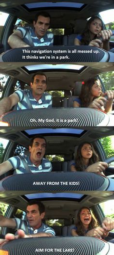 Modern Family teaching your kids to drive! Lol! Parent Taught Drivers Ed, Tv Quotes, Funny Quotes, Funny Memes, Car Memes, Funny Driving Quotes, Movie Quotes, Driving Memes, Funny Dogs