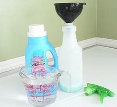 DIY Wrinkle Releaser Spray  We've been seeing commercials lately for Downy Wrinkle Releaser, and while it looks pretty cool we'll admit that we are too cheap to actually buy it. So, true to form, we searched around and found a recipe so that we could make our own!    What you need:  1/3 cup liquid fabric softener (we bought the cheapest we could find)  1/3 cup white vinegar  1/3 cup water