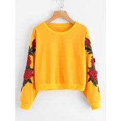 Rose Embroidered Applique Sweatshirt ($9.89) ❤ liked on Polyvore featuring tops, hoodies, sweatshirts, shirts, yellow, long sleeve polyester shirts, rose embroidered shirt, yellow shirt, floral long sleeve shirt and long-sleeve shirt