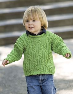 Pat's Green Child's Pullover  US 3 and US 6 Needles
