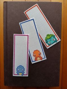Cross Stitch Bookmarks - Pokemon - Gen 1 Starters by PupsnPixels on Etsy